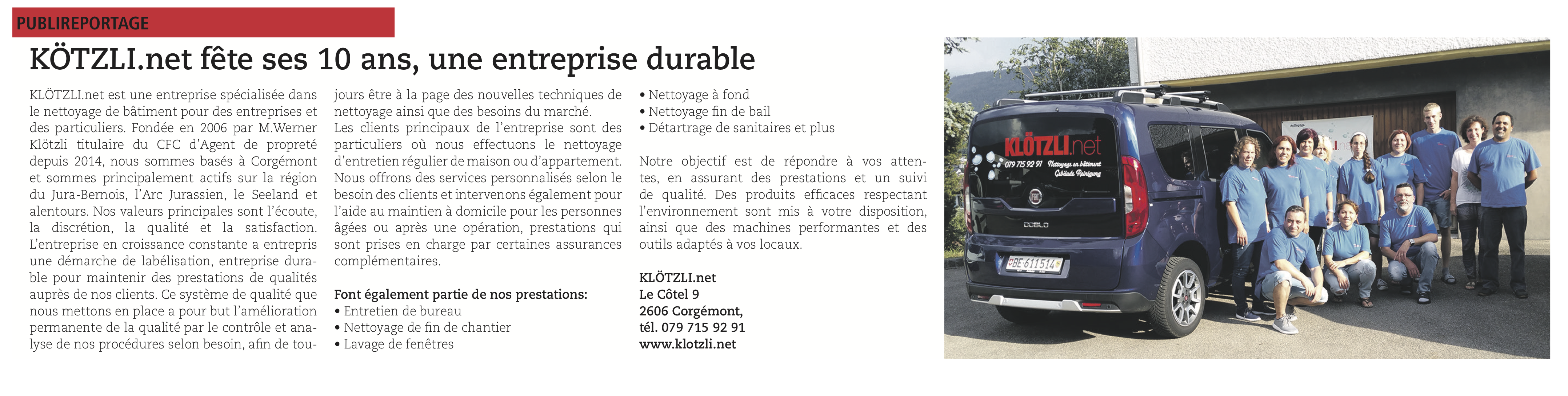 Article Journal du Jura 2015